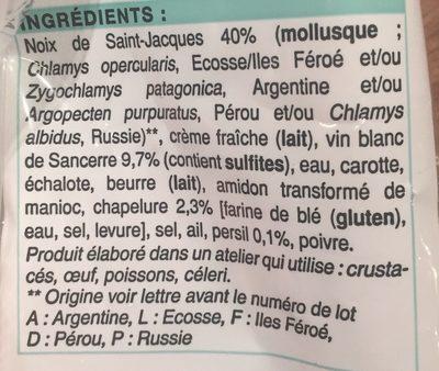 2 Coquilles aux Noix de Saint-Jacques et au Vin de Sancerre - Ingrédients