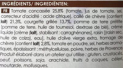 Fondants tomate, fromage de chèvre et courgette - Ingrédients