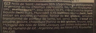 COQUILLE AUX NOIX DE SAINT JACQUES - Ingredients - fr