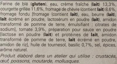 Tarte Fine Courgette - Fromage de Chèvre - Ingredients - fr