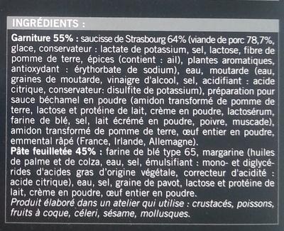 20 Mini-feuilletés saucisse - surgelés 350 g - Ingrediënten - fr