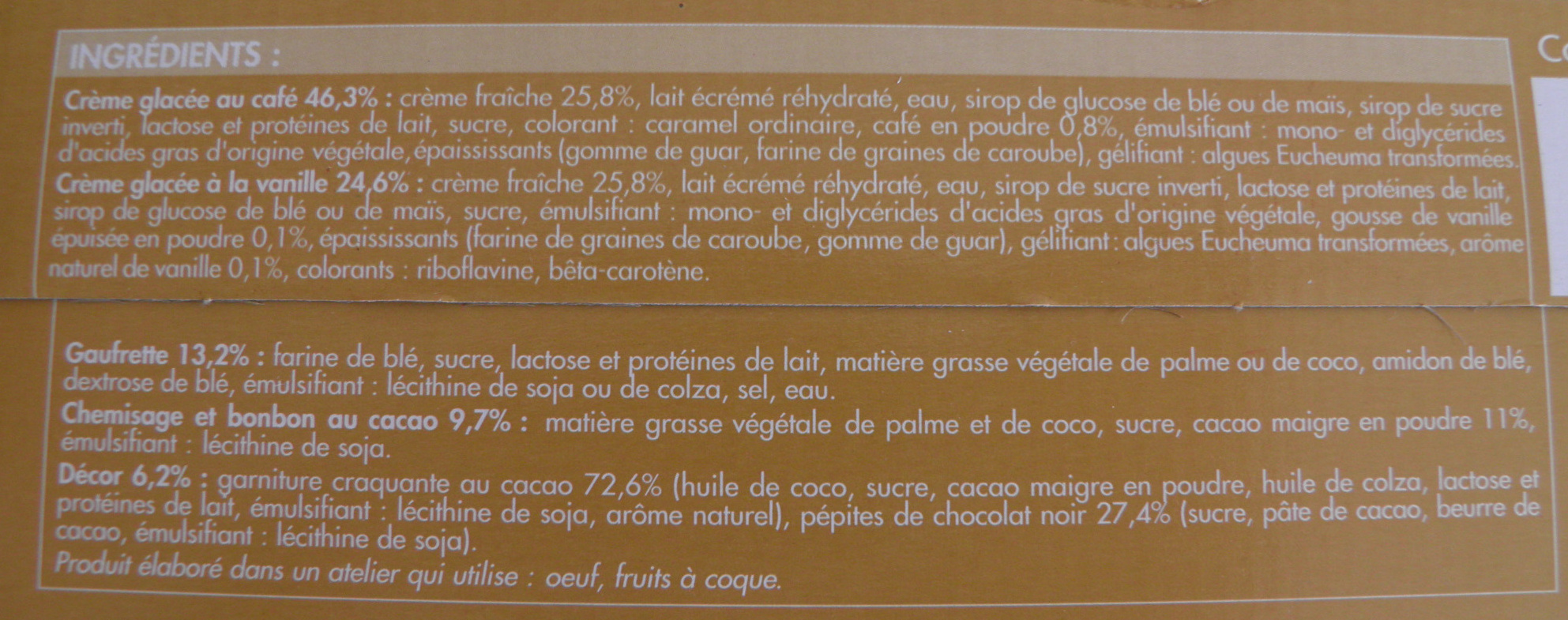 Cônes intenses Vanille Café avec pépites de chocolat - Ingrédients - fr