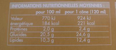 Cônes intenses Vanille Café avec pépites de chocolat - Informations nutritionnelles - fr
