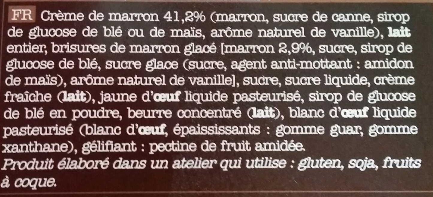 Crème de marron brisures de marron glacé meringue - Ingrédients