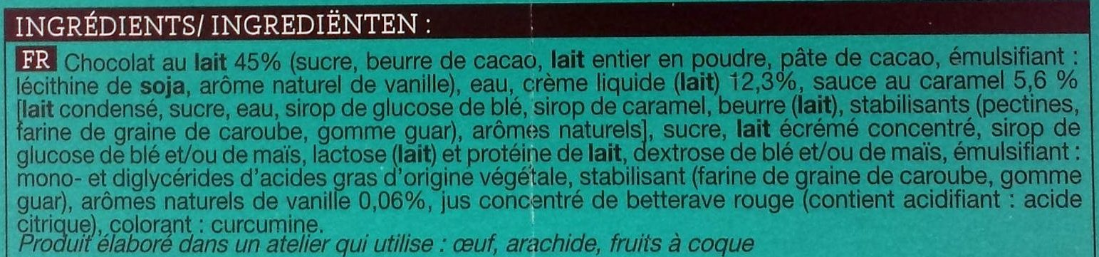 Oeufs Glacés Chocolat Au Lait, Crème Glacée Vanille, Sauce Caramel 4 x 45ml - Ingrédients