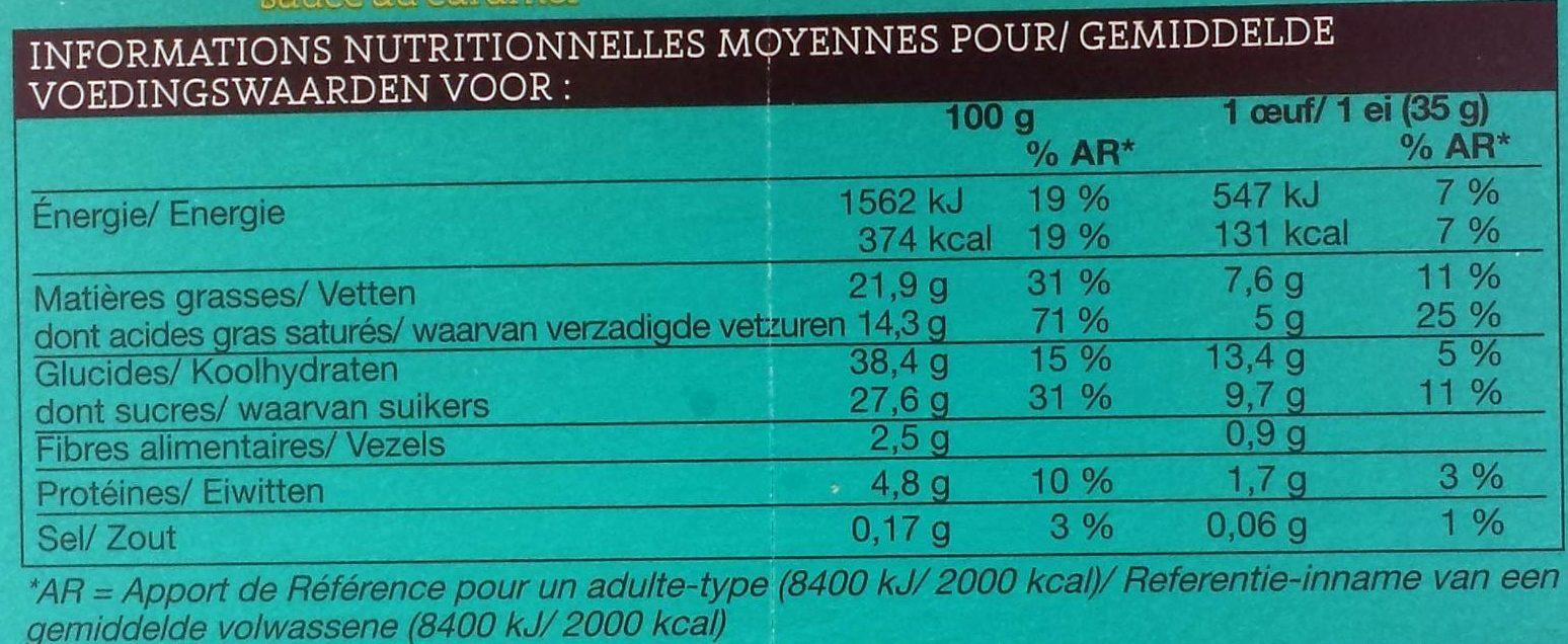 Oeufs Glacés Chocolat Au Lait, Crème Glacée Vanille, Sauce Caramel 4 x 45ml - Informations nutritionnelles