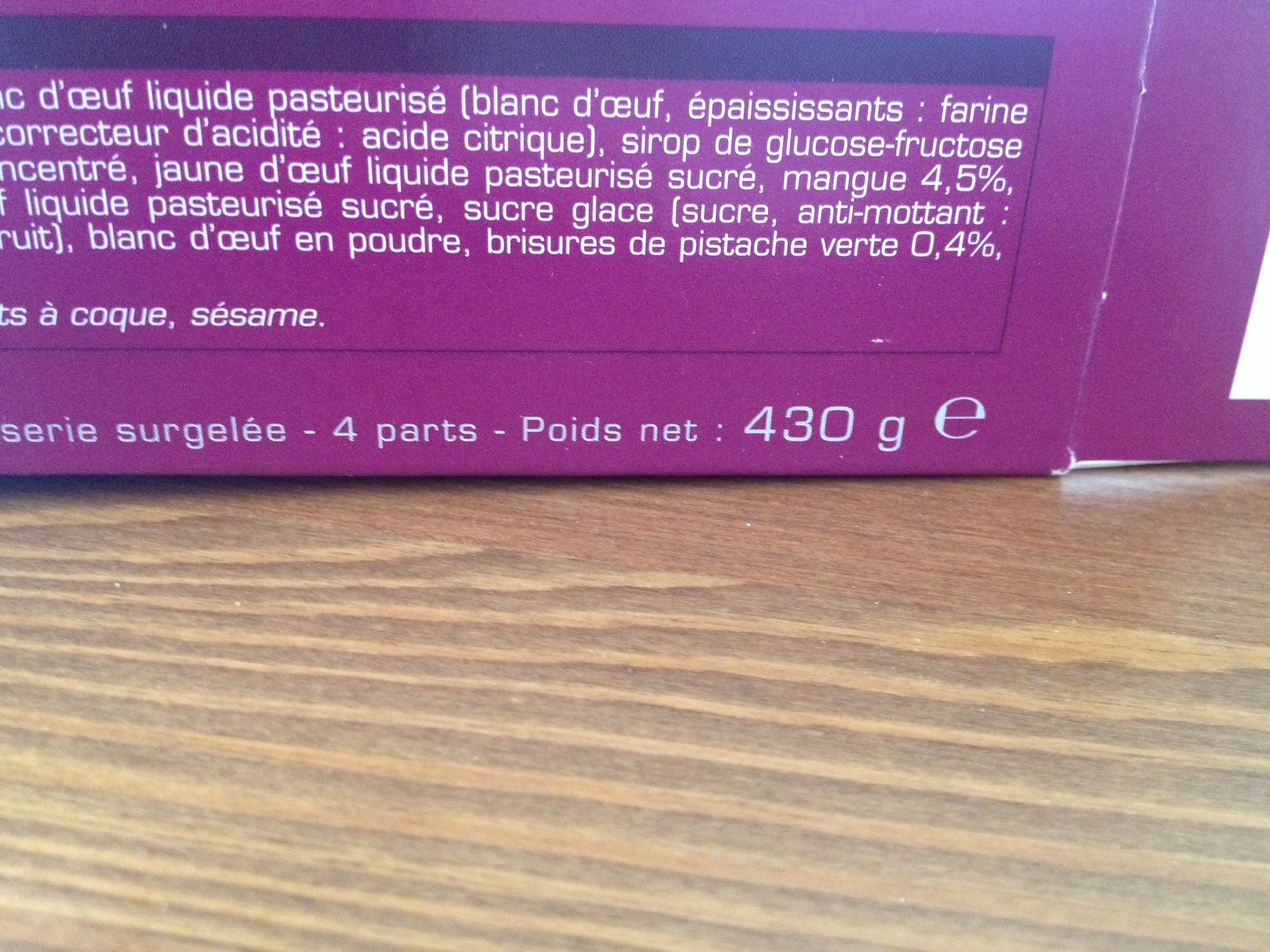 Tiramisu aux fruits - Picard - 430 g (4 parts)