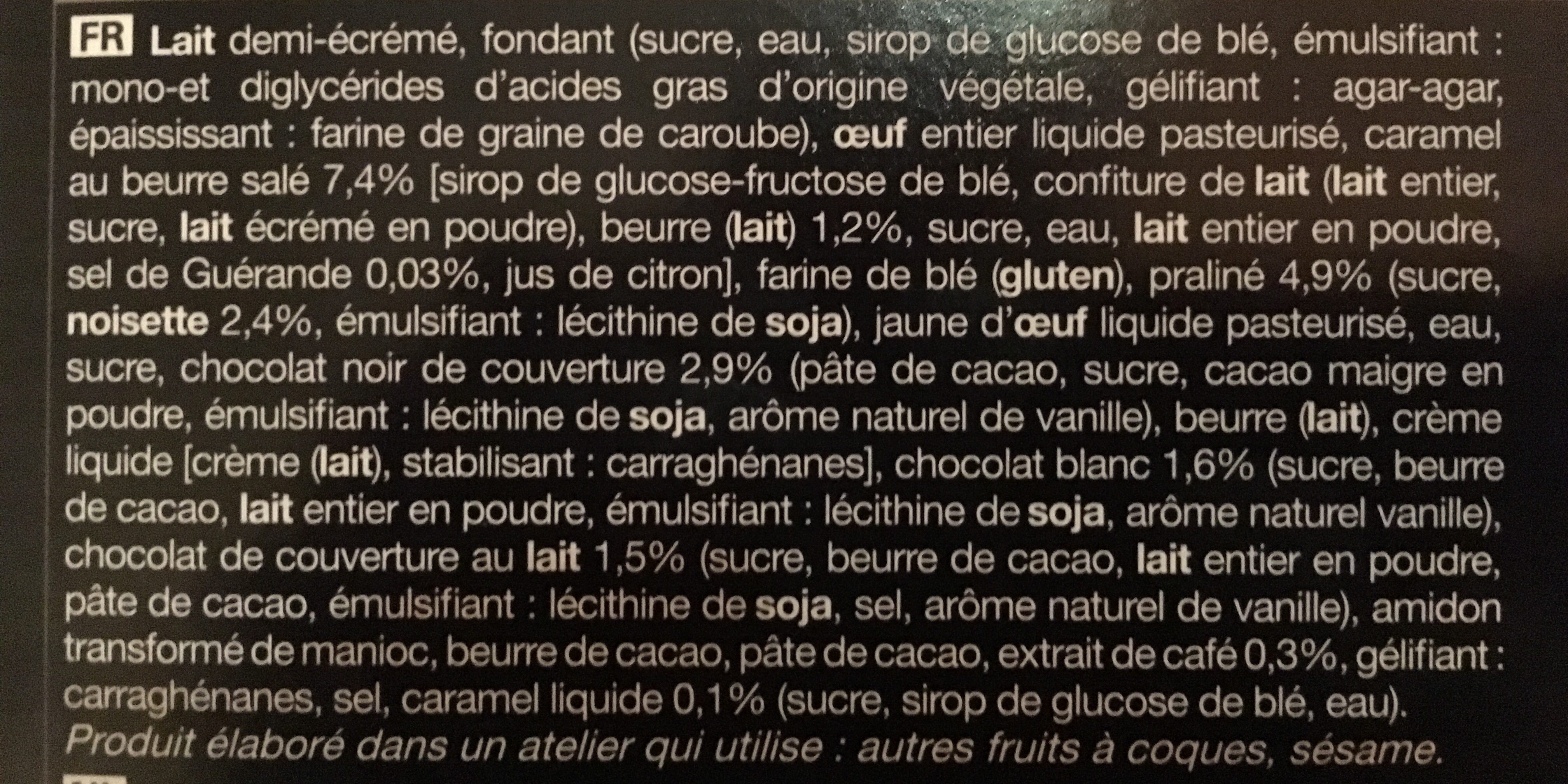 12 Mini-éclairs Praliné, Caramel Au Beurre Salé, Chocolat, Café - Ingredients
