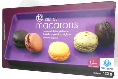 12 autres macarons, cassis-violette, pistache, fruit de la passion, réglisse - Product