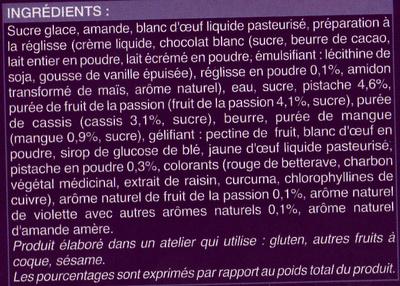 12 autres macarons, cassis-violette, pistache, fruit de la passion, réglisse - Ingrediënten
