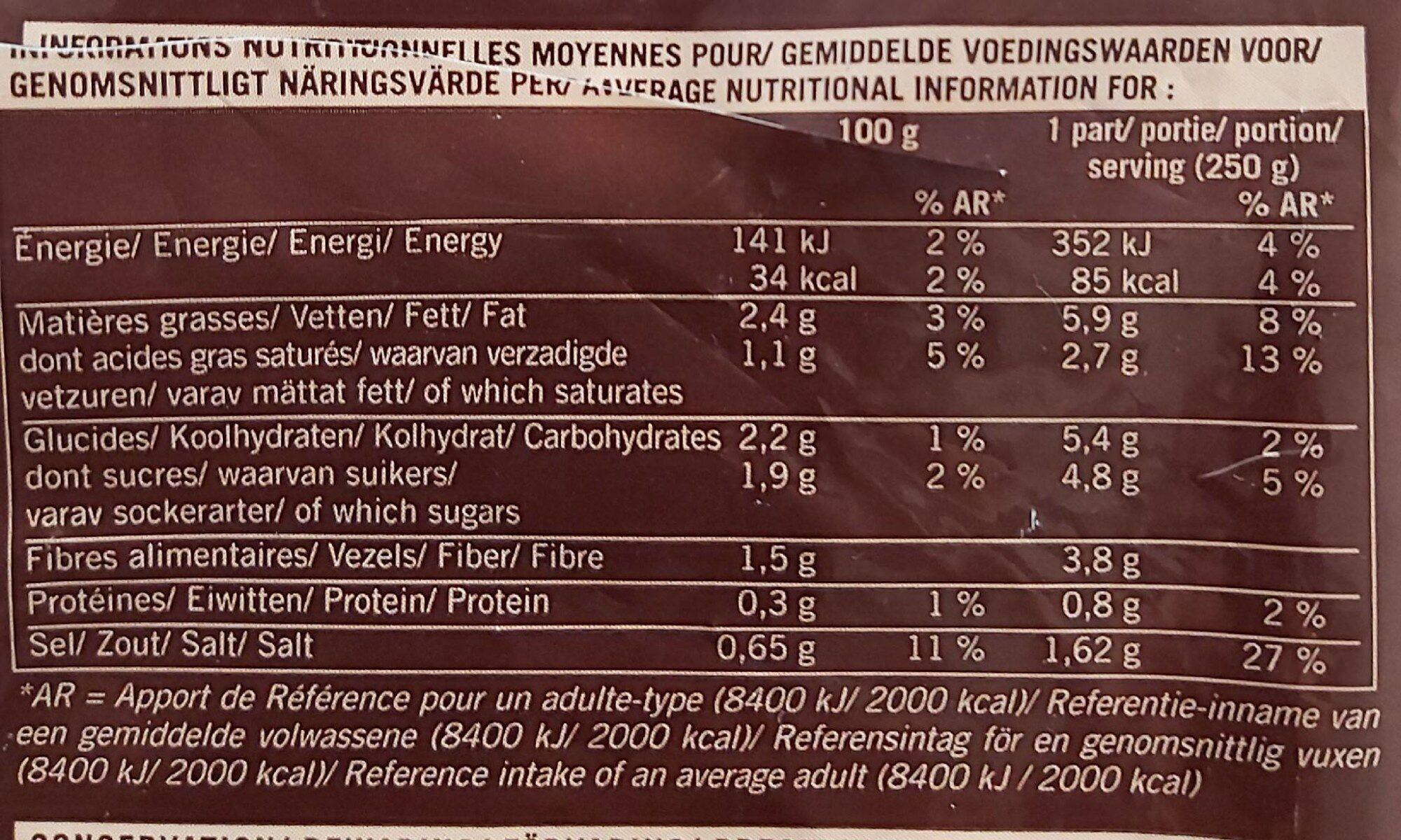 Velouté Carottes à la Thaïlandaise - Nutrition facts - fr