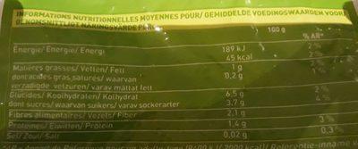 Purée potiron, carotte, maïs - Nutrition facts