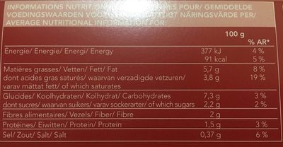 Puree de courge butternut - Informations nutritionnelles