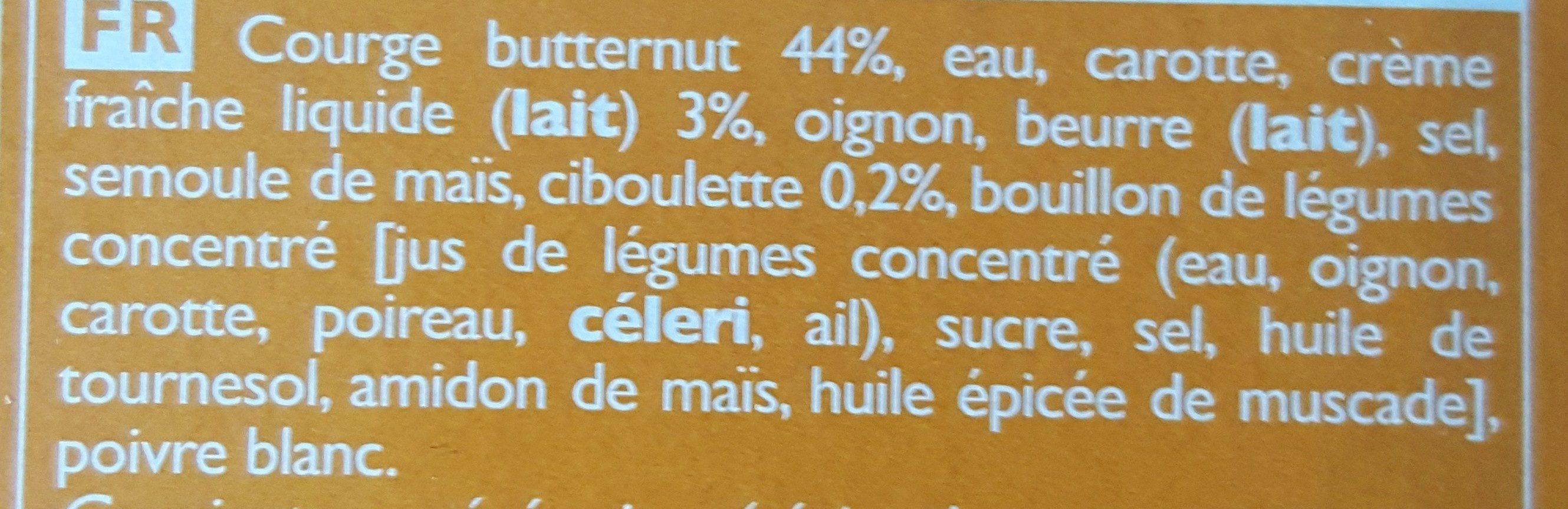 So Soupe Courge Butternut, Crème Fraîche, Ciboulette - Ingrédients - fr