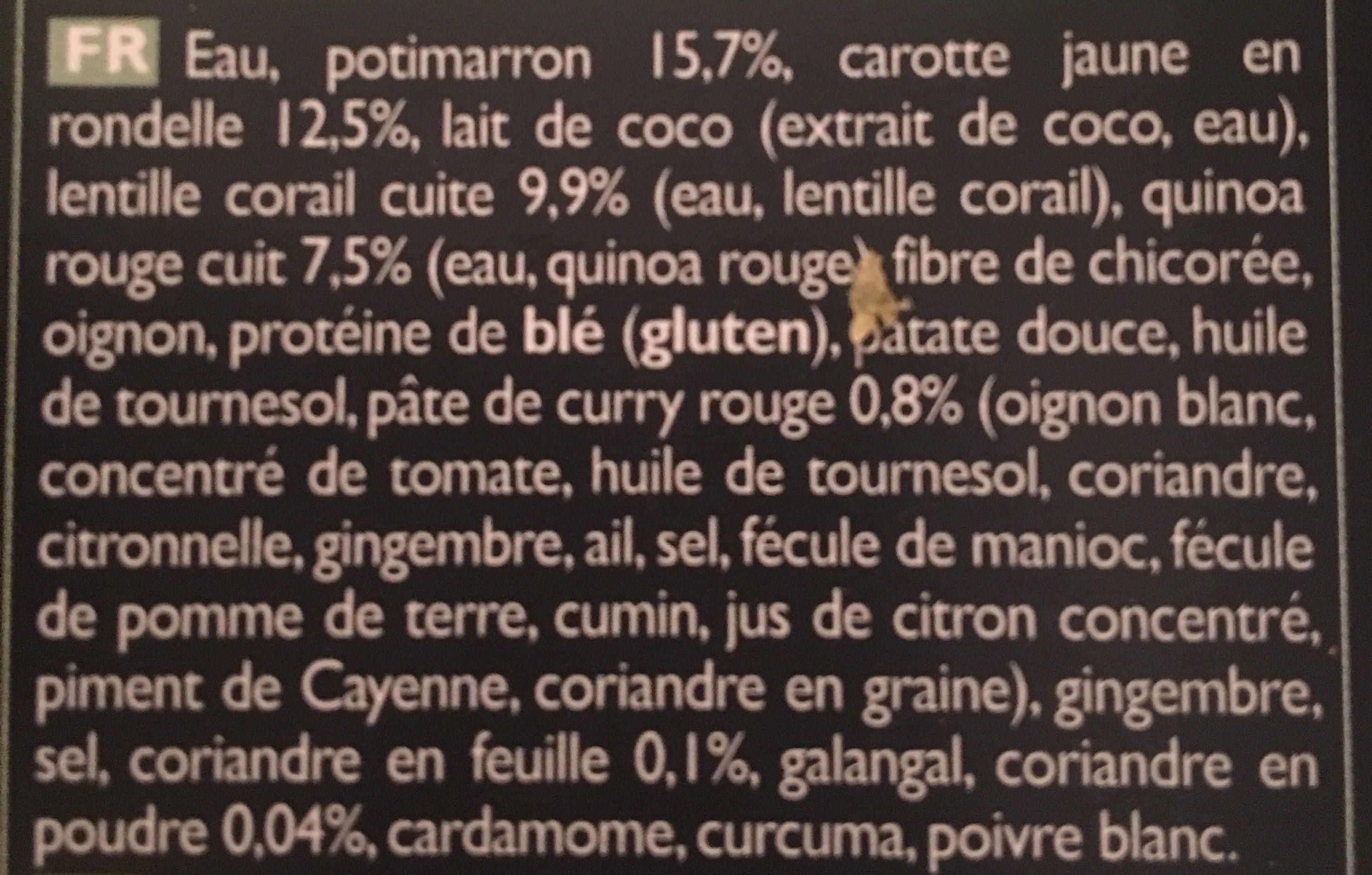 Soupe Potimarron, Quinoa Rouge, Lentille Corail, Carotte Jaune, Curry, Coriandre - Ingrediënten - fr