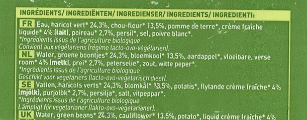 Velouté cuisiné haricot vert chou-fleur poireau - Ingrédients