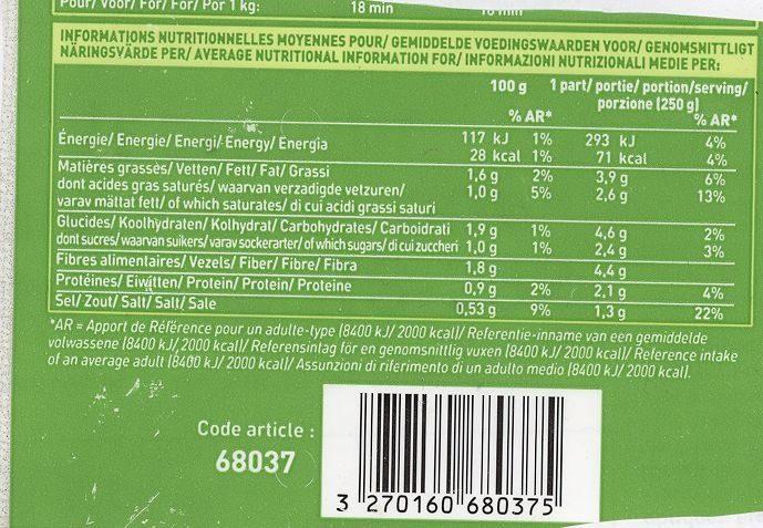 Velouté cuisiné haricot vert chou-fleur poireau - Nutrition facts