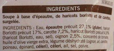 Soupe d'épeautre et haricots borlotti - Ingrédients - fr