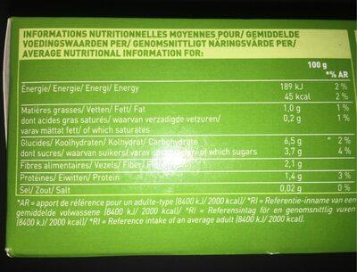 Purée Potiron, Carotte, Maïs - Informations nutritionnelles - fr