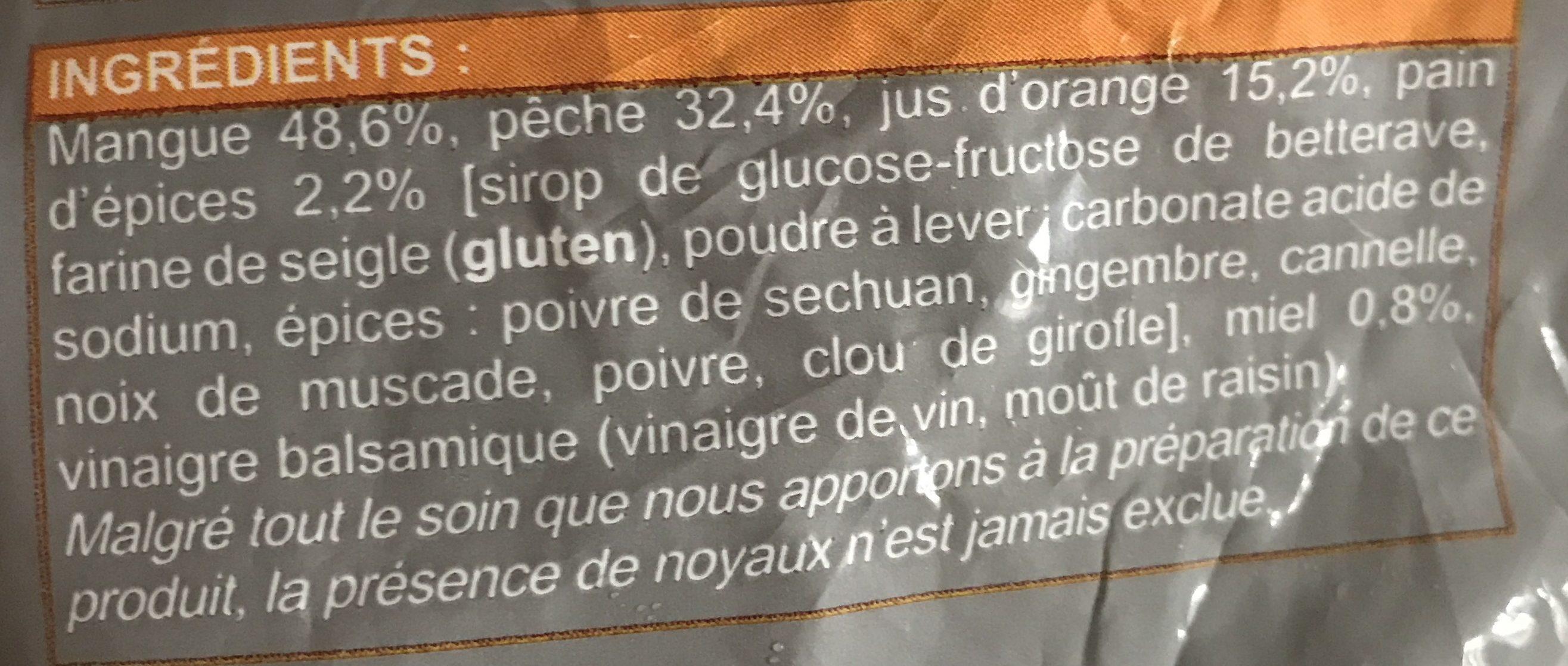 Fruits a Poêler Mangues et Pêches au Pain d'Épices et au Miel - Ingrediënten