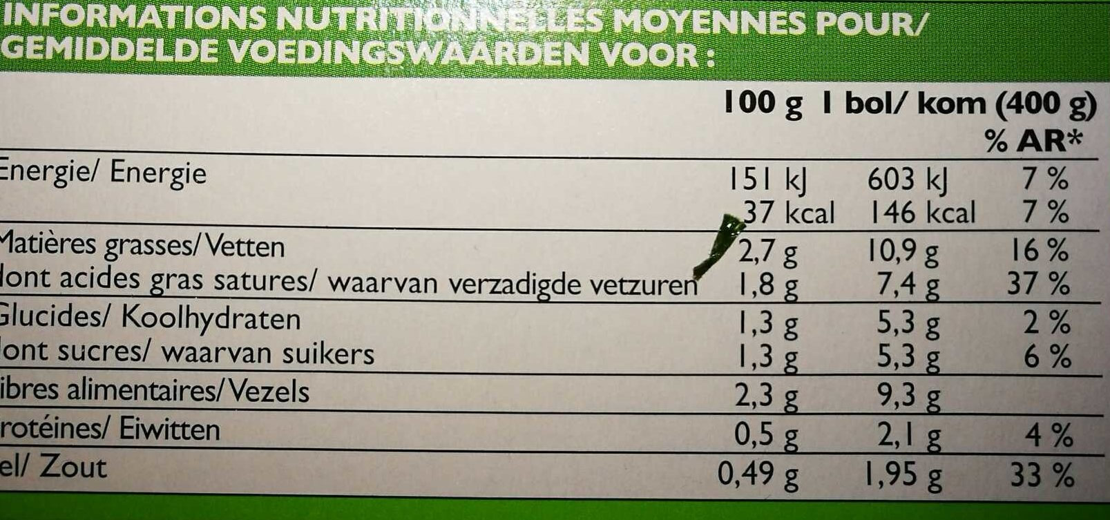 Potage cuisiné aux 4 légumes, bio - Informations nutritionnelles - fr