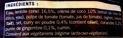 Velouté lentilles corail - Ingredienti - fr