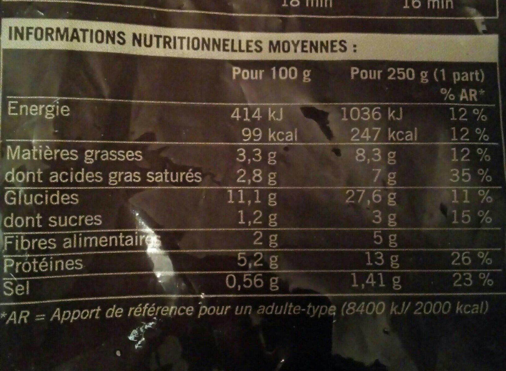 Velouté lentilles corail - Valori nutrizionali - fr