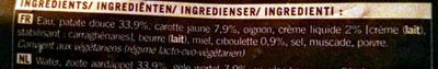 Velouté Patate douce, Carotte jaune et Ciboulette - Ingrédients - fr