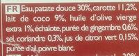 So Soupe Patate Douce, Carotte, Lait de Coco, Gingembre - Ingrédients