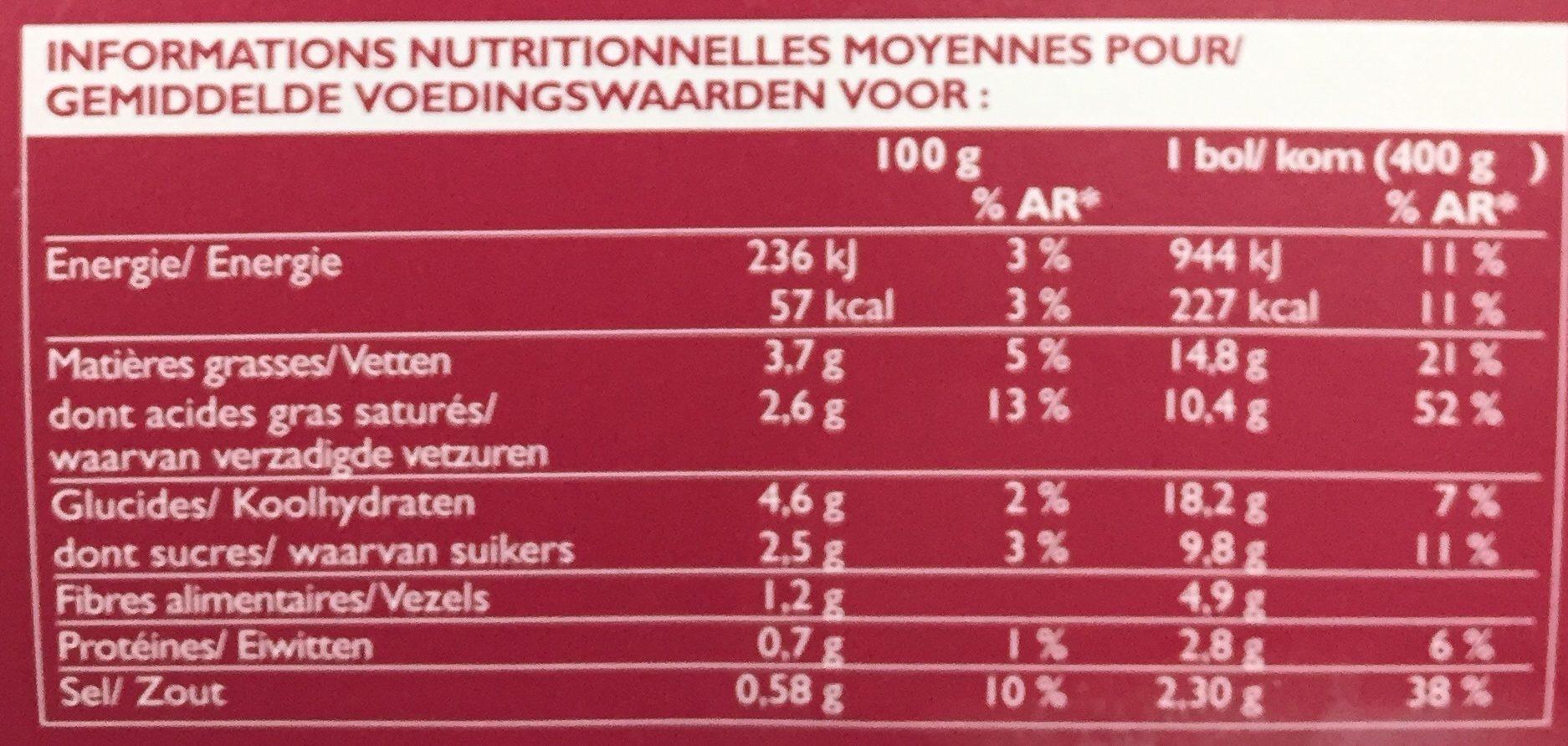 So Soupe Patate Douce, Carotte, Lait de Coco, Gingembre - Informations nutritionnelles