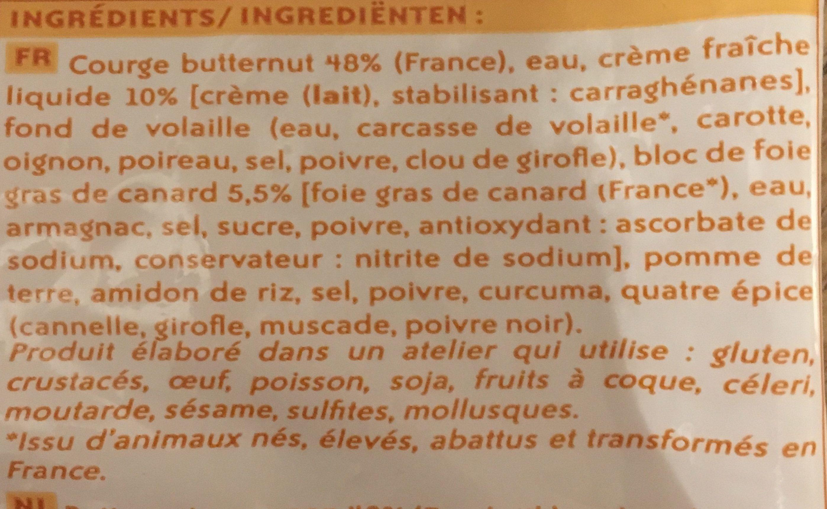 Velouté de Courge Butternut au Bloc de Foie Gras de Canard - Ingrédients - fr