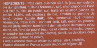 Poulet et petites pâtes sauce champignons surgelés - Ingrédients