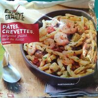 Pâtes, crevettes, courgettes grillées sauce basilic surgelé - Produit - fr