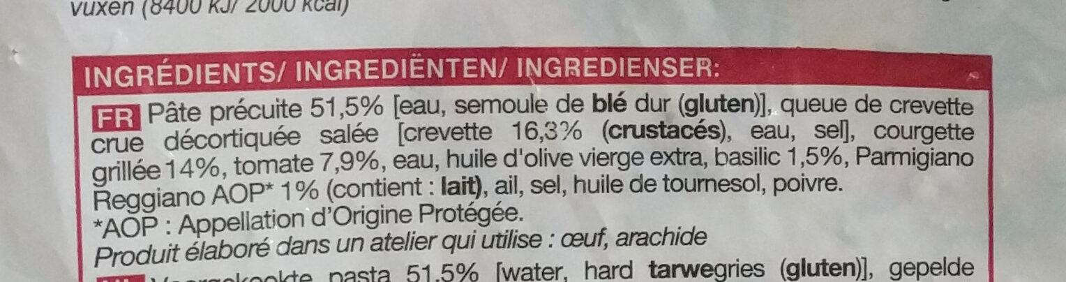 Pâtes, crevettes, courgettes grillées sauce basilic surgelé - Ingrédients - fr