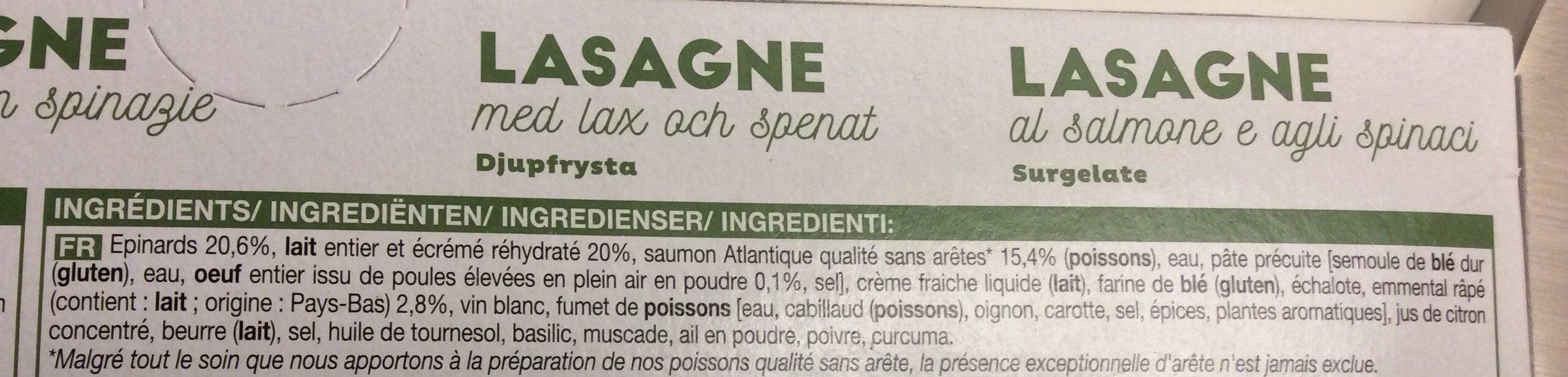 Lasagnes saumon, epinard - Ingrediënten - fr