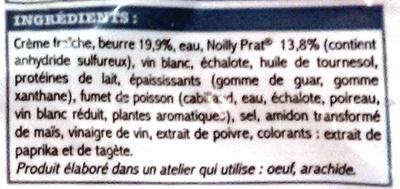 Ma Sauce beurre blanc au Noilly Prat, Surgelée - Ingrediënten - fr