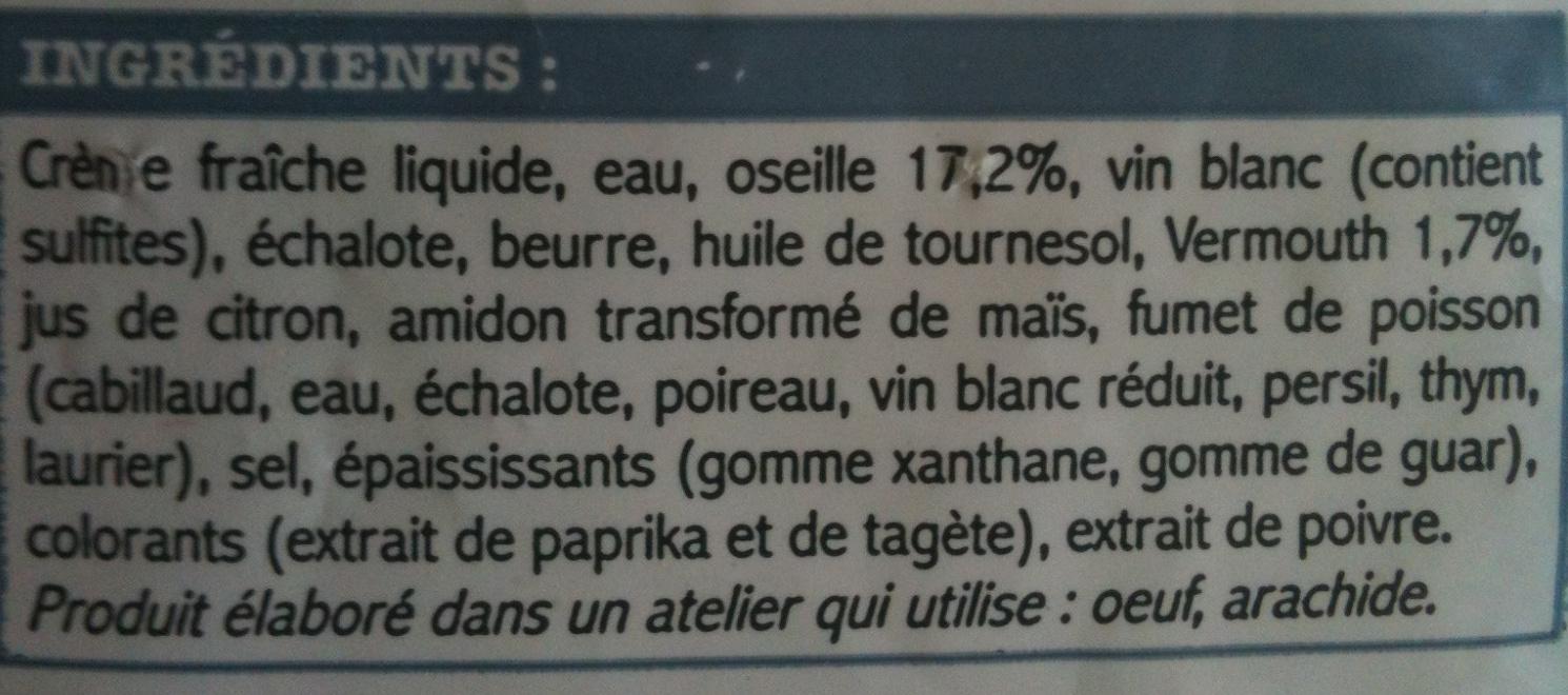 Picard -  Ma Sauce à l'Oseille - Ingrédients - fr