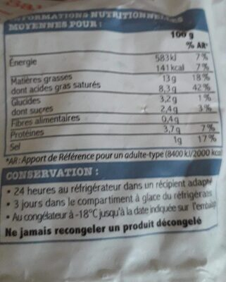 Sauce aux Saint-Jacques et au Champagne - Nutrition facts