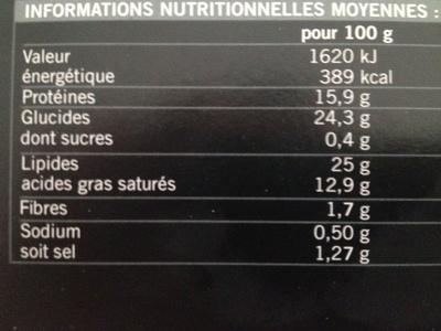 Mini-gougères au fromage - Informations nutritionnelles