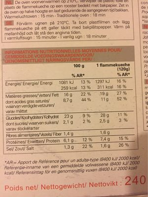 2 Flammekueche - Informations nutritionnelles