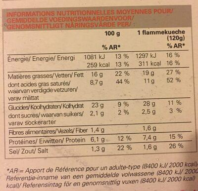2 Flammekueche - Voedingswaarden - fr