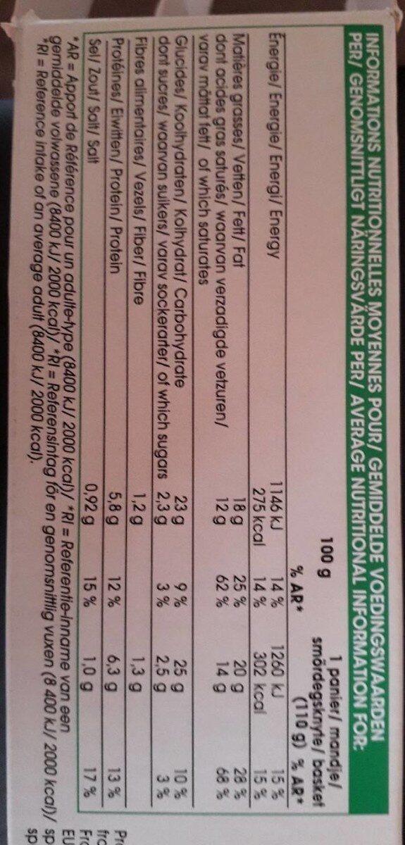4 paniers chèvre épinard - Informations nutritionnelles - fr
