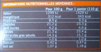4 Paniers Fromage de chèvre - surgelés - Nährwertangaben - fr