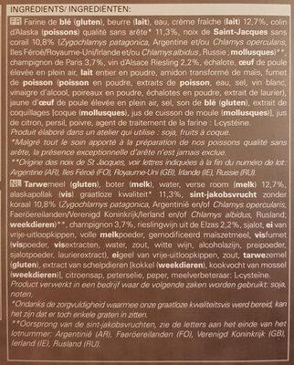 Tourte noix de Saint-Jacques et colin à la crème et au riesling surgelée - Ingrediënten - fr