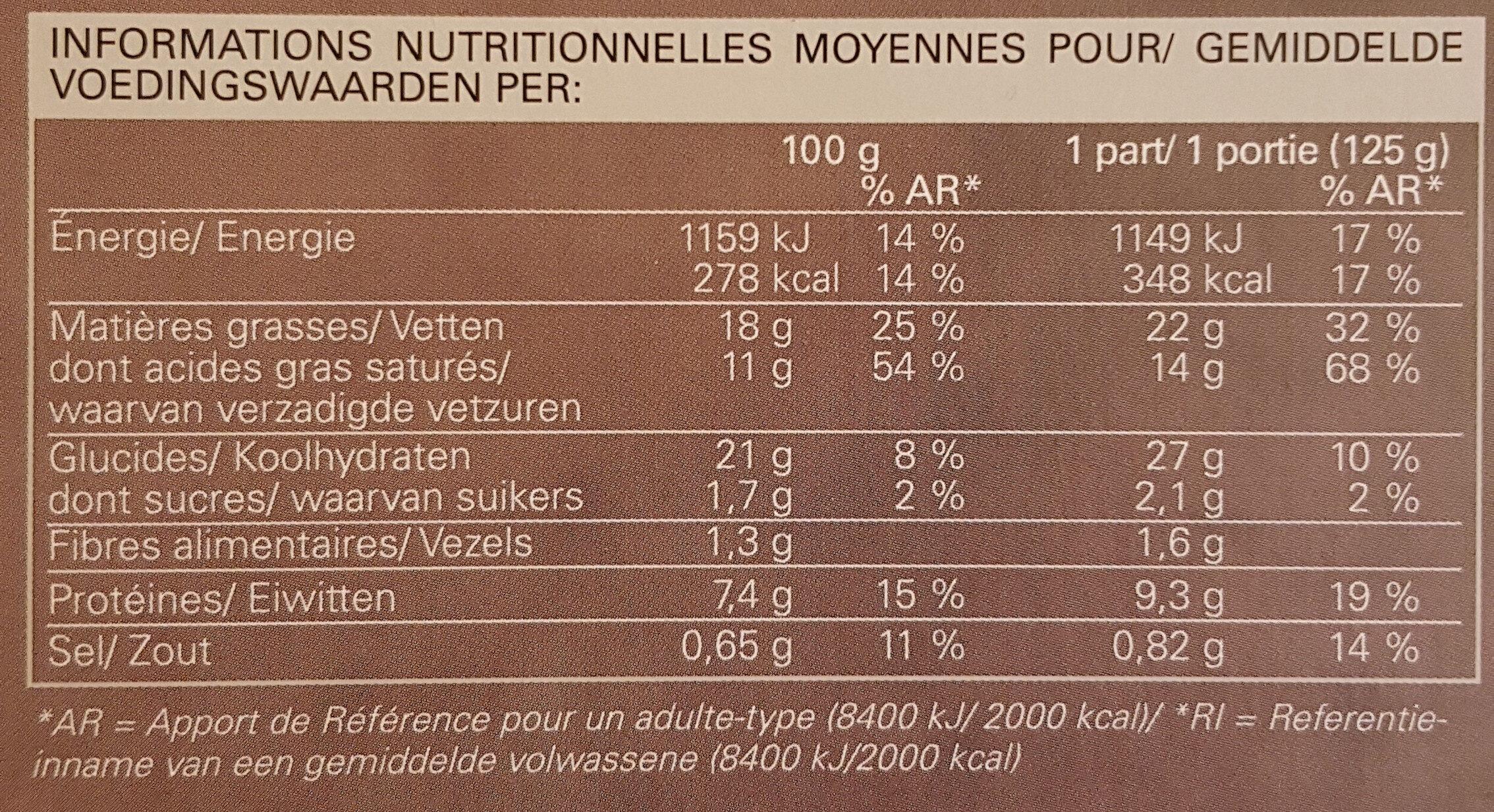 Tourte noix de Saint-Jacques et colin à la crème et au riesling surgelée - Voedingswaarden - fr