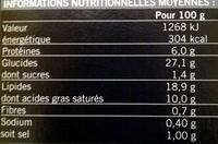 30 Mini-feuilletés apéritifs - surgelés 405 g - Nährwertangaben - fr