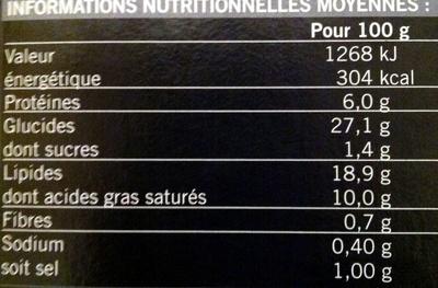 30 Mini-feuilletés apéritifs - surgelés 405 g - Informations nutritionnelles - fr