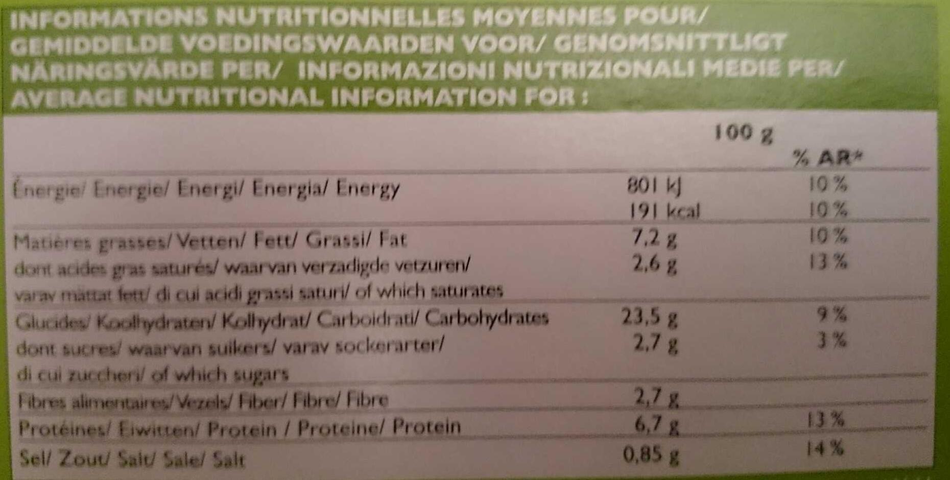 Pizza 4 Saisons - Informació nutricional