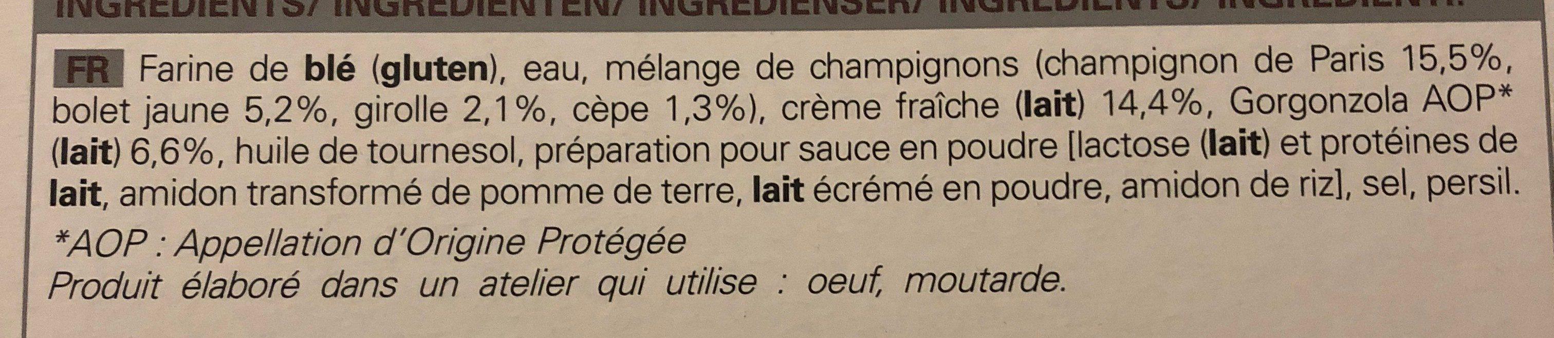 Tarte Fine Champignons - Gorgonzola - Ingrédients - fr
