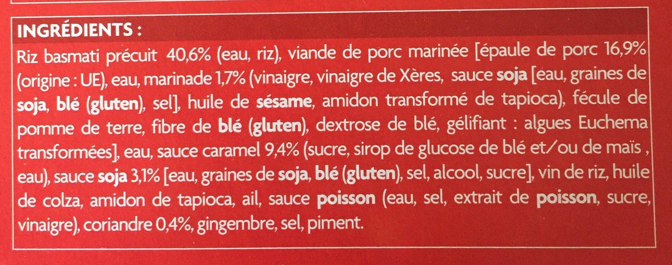 Porc au caramel et riz à la coriandre - Ingrédients